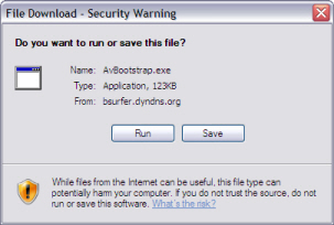 File Download Security Warning Screen Example