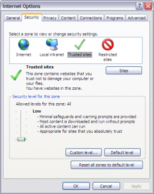 Example of the Internet Explorer Security tab