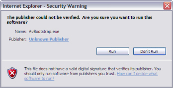 Internet Explorer Security Warning Screen Example