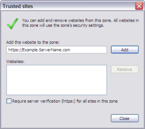 Example of the Trusted Sites Screen